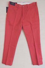 NEW Polo Ralph Lauren Logo Chino Slim Fit Khaki Flat Pant Nantucket Red 32,33
