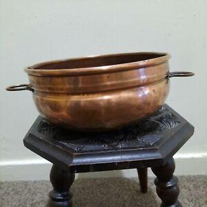 Vintage Copper Bowl Planter With handles