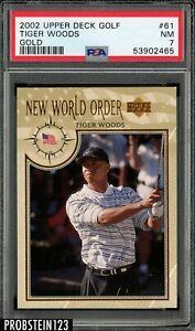 2002 Upper Deck Golf Gold #61 Tiger Woods PSA 7 NM