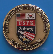 Challenge Coin Medal ROK Korea US Flags Anti Terror Force Protection USFK J34