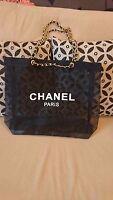 CHANEL VIP Black Mesh Tote Bag Shopping Travel Shopper Leather Chain-Gold