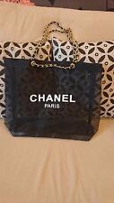 CHANEL VIP Black Mesh Tote Bag Shopping Travel Shopper Leather Chain-Gold