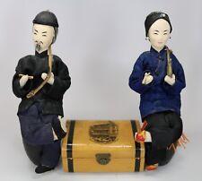 Vintage Chinese Cloth Dolls + Wood Trunk w Smoking Divan San Francisco Chinatown