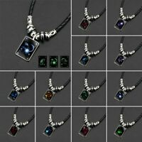 12 Constellations Glow In the Dark Luminous Necklace Pendant Leather Chain Gift