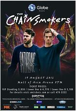 THE CHAINSMOKERS 2016 MANILA CONCERT TOUR POSTER - EDM, Pop, Electropop Music