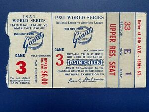 1951 World Series Game 3 New York Yankees at New York Giants Ticket Stub