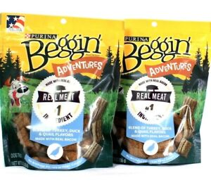 2 Bags Purina 5.5 Oz Beggin Adventures Real Meat Turkey Duck Quail Dog Treats