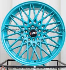 F1R F23 18x8.5/9.5 5x100/114.3 +38/35 Teal Rims Fits 350z Jetta Golf G35 S2000