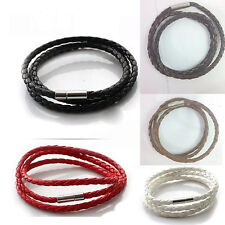 Hot Stainless Steel  Braided Genuine Leather Cord Necklace/Bracelet New FO