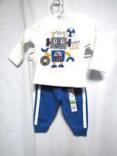 New Garanimals 2 Piece Top and Pants Size 3 6 Months Boy Blue Robot Long Sleeve