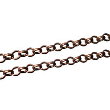 2, 5 or 10m Antique Copper Iron Rolo Belcher Chain 3x1mm Nickel Free