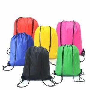 School PE Bag Polyester Drawstring Book Boys Girls Kids Adult Gym Kit Sack Dance