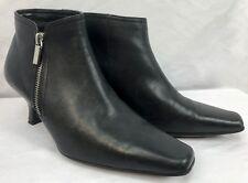 """Liz Claiborne Villager Avril Black Bootie Shoe Size 7 1/2M Squash Heel 2 1/2"""""""