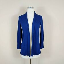 Eileen Fisher Merino Wool Open Front Cardigan Sweater Petite Small Blue