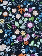 *Ikea SISSI EDHOLM Lisa Ullenius 2007 BIRDS FLORAL Black Cotton Fabric 1 Yd x 58