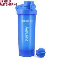 AUTO FLIP Lid Shaker Bottle Blender for Protein Powder Smoothie Shaker-Full Blue