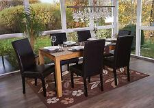 6x chaise de salle à manger T378 XL, fauteuil, similicuir ~ noir, pieds foncés