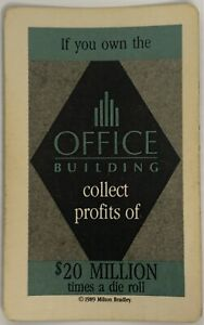 1989 TRUMP THE GAME BOARD GAME PART ONLY, $20 MILLION OFFICE BUILDING CARD