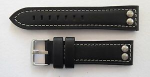 RIVETED WATCH STRAP BLACK/WHITE STITCHING 22MM-24MM FOR PANERAI/U BOAT/TW STEEL