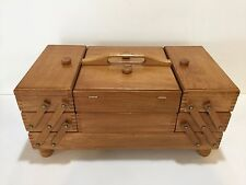 """Vintage Wooden Expandable Accordiaon Sewing Box Basket, 19"""" x 10"""" x 9"""" High"""