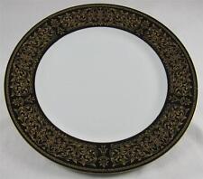 "Cordon Bleu EBONY 7136  Black Rim & Gold Design, Dinner Plate, 10 3/8"""