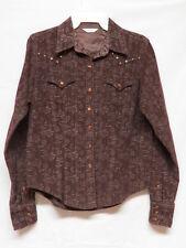 Twenty X Pearl Snap  Corduroy Brown Shirt w Brass Rivets under Collar Size S