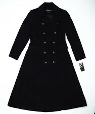 Lauren Ralph Lauren Double Breasted Military Maxi Navy Blue Trench Coat - Size 6
