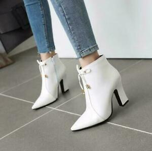 Womens Faux Leather Pointy Toe Zip Ankle Boots Cone Heels Office Shoes Plus Size