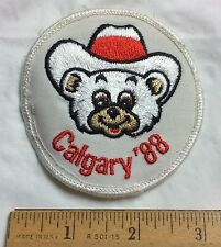 Vintage 1988 Calgary 88 Winter Olympics Bear Rodeo Hat Mascot Souvenir Patch