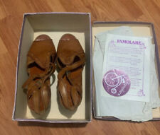 Vintage 1970 Famolare Hi-Up Italian Leather Sandals Size 8N With Original Box