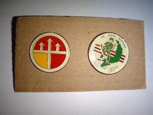 Set Of 2 Lapel Pins: US ENGINEER COMMAND In VIETNAM + WE WERE WINNING WHEN LEFT