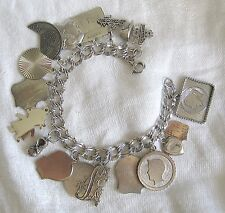 Gift for Mom VTG Sterling Silver Mom Kids Family 18 Charms Double Curb Bracelet