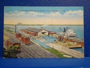 1949 DOCKS & BARGES, Memphis, TN/Postcard