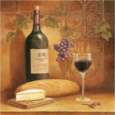 WINE AND GRAPE WITH BREAD AND CHEESE  IMAGE  SET OF 4 RUBBER BACKED COASTERS