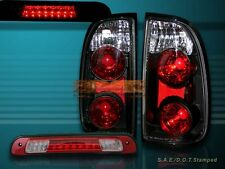 00-04 TOYOTA TUNDRA STANDARD / ACCESS CAB TAIL LIGHTS BLK + LED 3RD BRAKE LIGHT