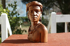 Wooden Bust withTobbaco Pipe