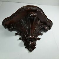 Wall Shelf Sconce Carved Wood Mahogany?  Hollywood Regency MCM - LARGE 16""