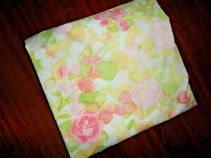 VINTAGE CANNON ROYAL FAMILY WATERCOLOR ROSE ORANGE FLORAL FULL FITTED SHEET