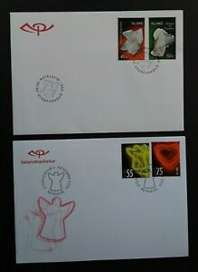 Iceland 1999 & 2006 SG933/4 Minerals - 2nd Series & SG1152/3 Christmas on 2 FDCs