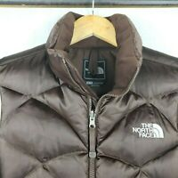 THE NORTH FACE 550 ACONCAGUA Womens XS Goose Down Full-Zip Brown Puffer Vest