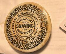 """X. BAZIN,Philadelphia, SAPONACEOUS SHAVING COMPOUND Pot Lid.4 1/4"""" X 3/4"""".C.1850"""