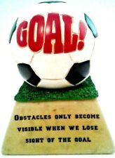 Soccer Ball Marble Goal Stand Inspirational Quote Resin Trophy White Black Memor