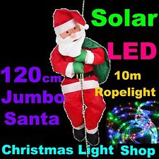 120cm House Climber SANTA w 10m Solar LED Ropelight Outdoor Christmas Xmas Light