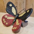 "Cast Iron 4"" Butterfly Figurine Painted Garden Home Decor Bouncy - Swanky Barn"