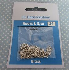 24 Pairs of Silver Coloured Hooks and Eyes Size 0 Clothing & Bra Fasteners