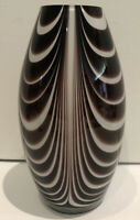 Art Glass Vase Mid Century Modern Tiger Stripe Abstract Brown White 8 Inches
