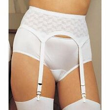Crown Foundations Crownette Embroidery 4 Strap White Garter Belt Size 30/Large
