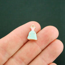 2 Princess Dress Charms Gold Plated Enamel 3D Fun and Colorful - E286 NEW1
