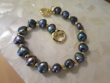 Gorgeous 8-9 mm Black Baroque Cultured PEARL BRACELET 925, gold plated