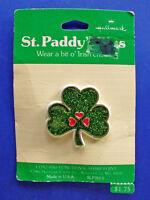 Hallmark PIN St Patrick Vintage SHAMROCK HEARTS Lucky Irish Holiday Brooch NEW*